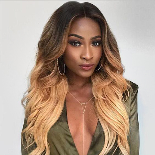 ombre color human lace wig